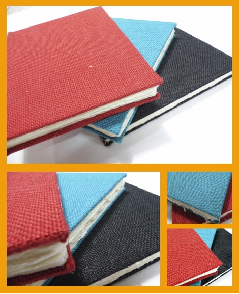 cuaderno encuadernado arpillera